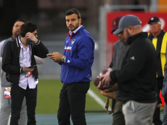 AAF founder Charlie Ebersol waits for the game to start at Sun Devil Stadium in Tempe, Ariz. on Sunday.