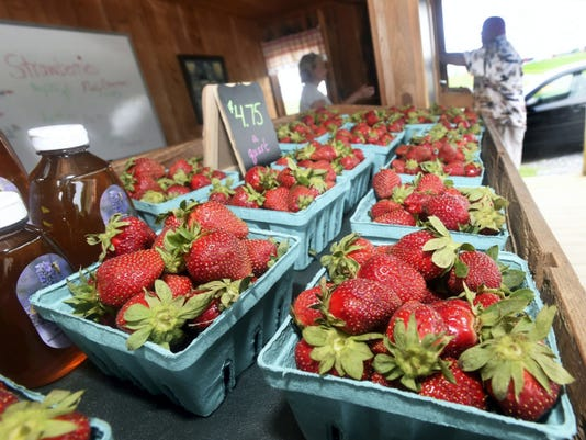 Strawberries for sale at Country Creek Produce located at 3746 Etter Rd. in Marion on Wednesday, May 27, 2015. Ryan Blackwell - Public Opinion
