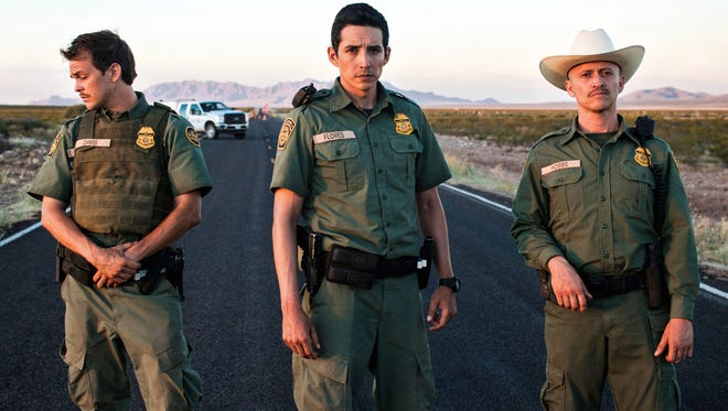 "From left, actors Johnny Simmons, Gabriel Luna and Clifton Collins, Jr., are shown in a promotional photo for ""Transpecos,"" which is slated for a local premiere on Monday, May 16 at Starmax."