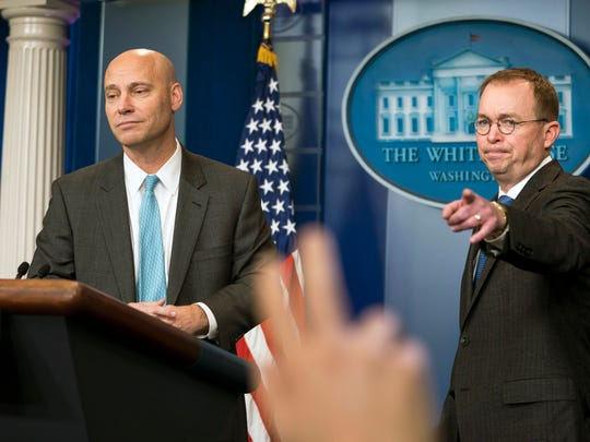 Marc Short, White House director of legislative affairs, and Mick Mulvaney, director of the  and Director of the Office of Management and Budget, Friday as negotiations continued to avoid a government shutdown.