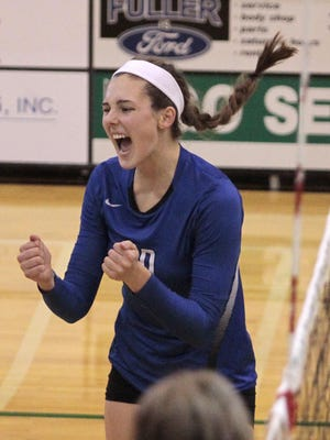 Chloe Klusman of Mercy celebrates after a big point for the Bobcats last season.