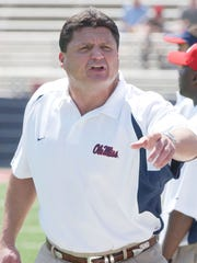 Ole Miss coach Ed Orgeron makes a point during Mississippi's annual Red-Blue game at Vaught-Hemingway Stadium in Oxford, Miss., Saturday, April 9, 2005.
