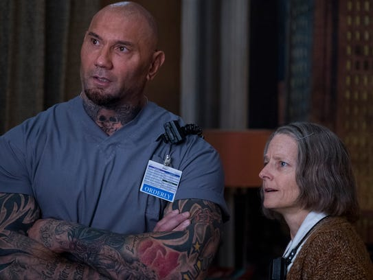 "Dave Bautista's Everest works with The Nurse (Jodie Foster) in ""Hotel Artemis."""