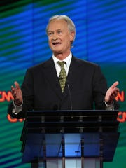 Democratic presidential candidate Lincoln Chafee takes part in a Democratic presidential debate on Oct. 13, 2015, in Las Vegas.