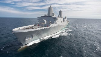 The amphibious transport dock ship the John P. Murtha (LPD 26) conducts builder's trials March 4, 2016 in the Gulf of Mexico.