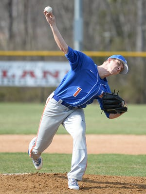 Millville's Hunter Sibley pitches during Thursday's game against Vineland at Vineland High School. 04.12.18.
