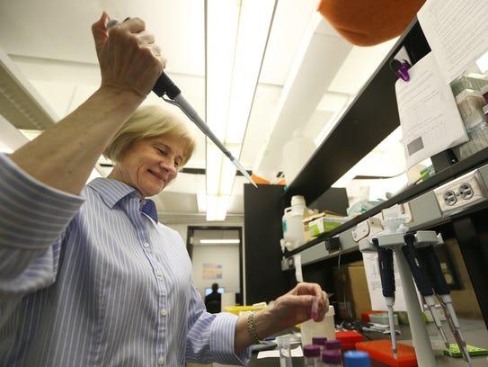 Jean Bidlack at work in her lab at the University of