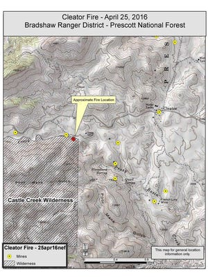 Wildfire specialists shared this map of a fire burning near Cleator on April 25, 2016.