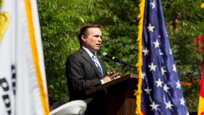 Mayor John Cranley speaks at the Police Memorial ceremony Friday, May 19, 2017 at Fountain Square.