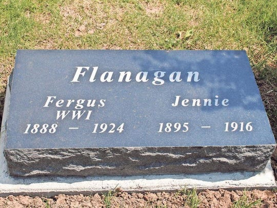 After more than nine decades, Fergus and Jennie Flanagan have a headstone to mark their resting place in St. Mary's Cemetery, Williamsburg.