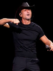 Tim McGraw reacts while singing on July 20, 2018, during