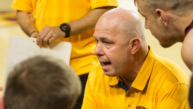 ASU men's basketball head coach Herb Sendek coaches his team during the Maroon and Gold Scrimmage ion Friday, Nov. 7, 2014, at Wells Fargo Arena in Tempe, Ariz.
