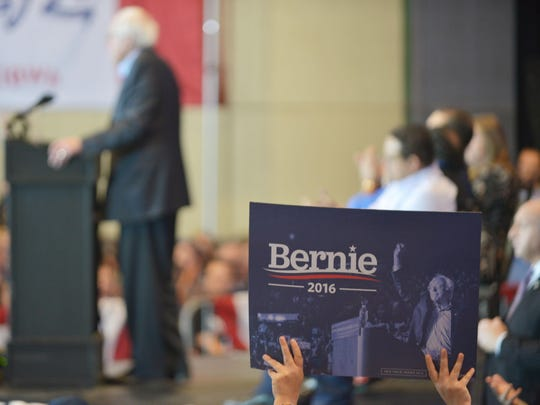 Sen. Bernie Sanders, I-Vt., speaks at a campaign rally