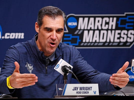 Villanova head coach Jay Wright talks with reporters before a practice for an NCAA college basketball first round game in Pittsburgh Wednesday, March 14, 2018. AP Photo/Gene J. Puskar)