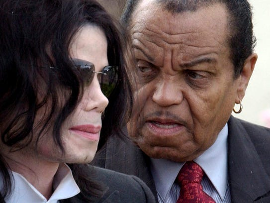Michael Jackson with his father Joe Jackson in Santa