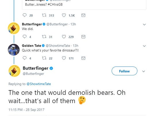 A portion of the exchange between Golden Tate and the Butterfinger Twitter account on Monday night.