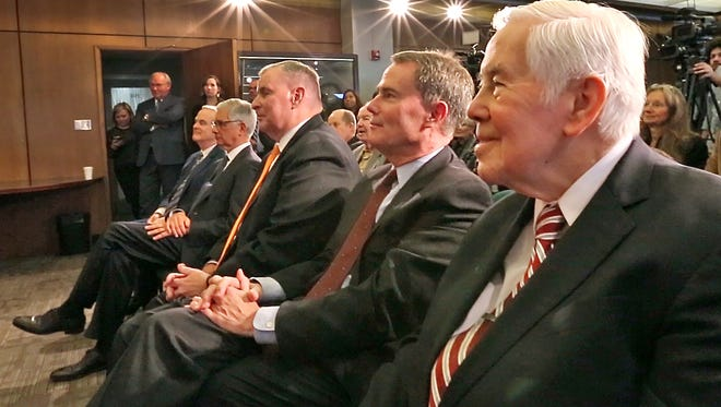 Former Indianapolis Mayors joined Mayor Joe Hogsett, second from right, as he and they honored former Mayor and Senator Richard Lugar, right, in the Mayor's conference room, of the City-County Building, Monday, Nov. 13, 2017.  Four former Indianapolis Mayors joined the present Mayor Joe Hogsett to honor Senator and former Indy Mayor Richard Lugar celebrating the 50th anniversary of Lugar's election to the mayoral post.  As part of the celebration, Mayor Hogsett announced the renaming of the City-County Building Plaza as the Richard G. Lugar Plaza.  The Plaza will be reopened after construction in 2018.