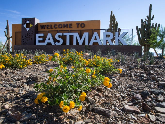 The welcome sign for DMB's Eastmark community in east