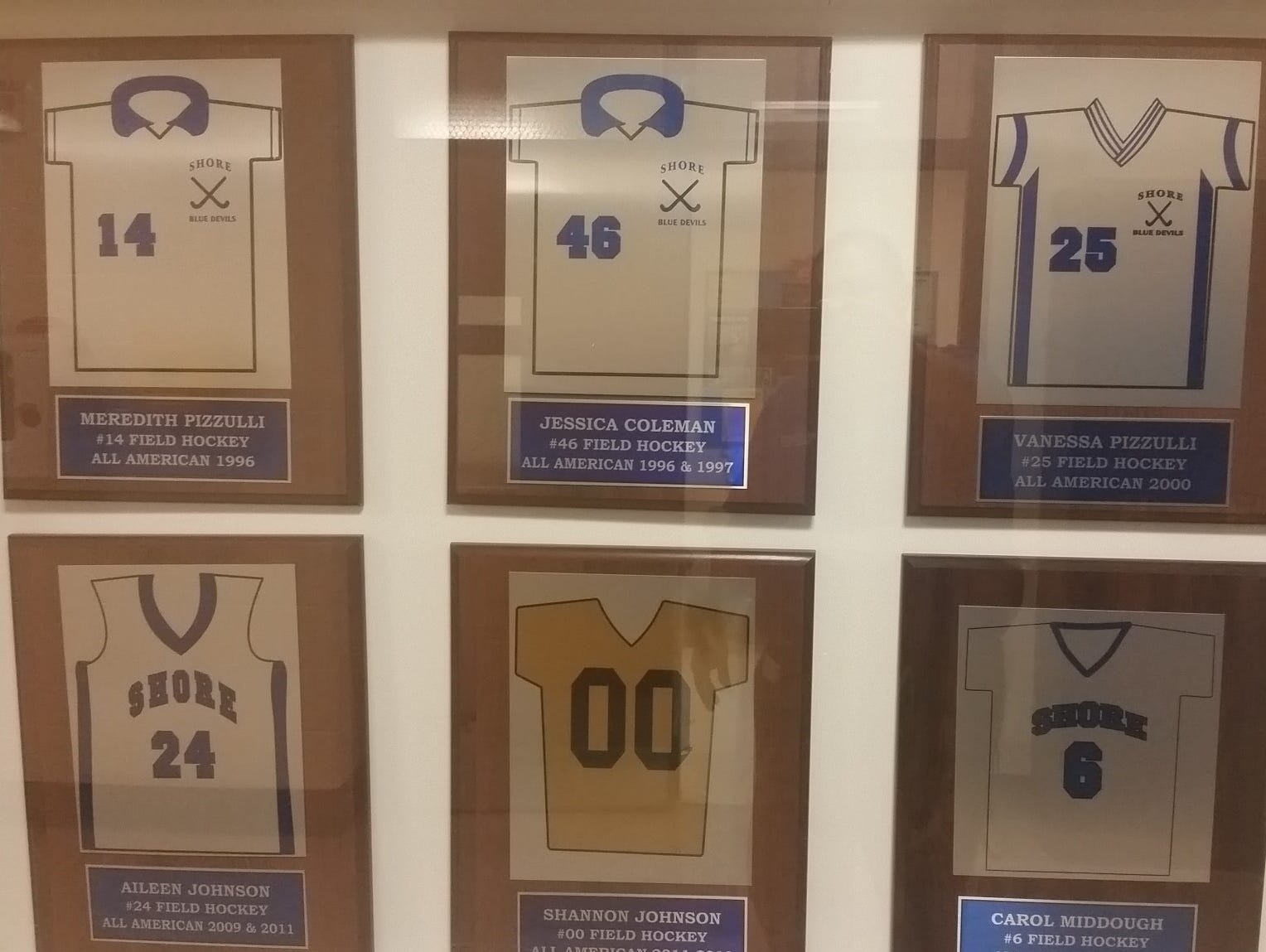 The Wall of Fame at Shore Regional is full of field hockey greats.