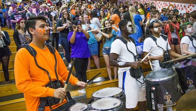 The band plays at Ironwood High School during a spirit pep rally in the gym, Friday, April 7, 2017.