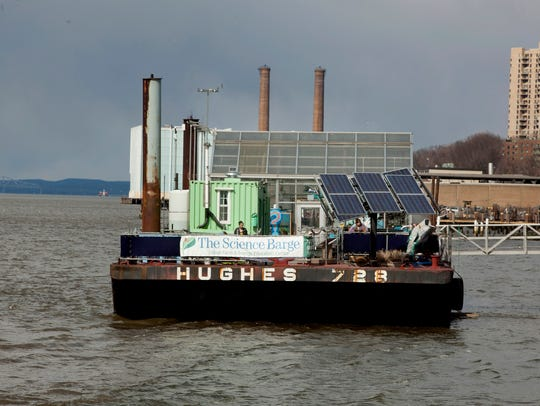 The Science Barge , a floating urban farm, is moored