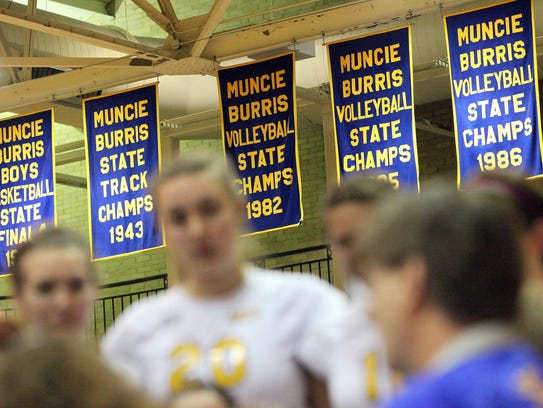 Former Burris volleyball coach Steve Shondell conducts