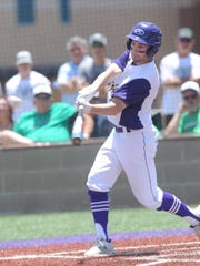 Wylie's Sam King leads off the bottom of the first with a double against Iowa Park. He scored on Caleb Munton's two-run homer later in the inning. Iowa Park won the game 18-7 in five innings to even the Region I-4A quarterfinal playoff series at 1-1. The Hawks won Game 3 8-2 to win the series later in the day at Bulldog Field.