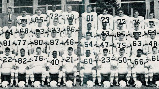 Larry Larsuel (No. 66,  front row, sixth from right) helped the 1964 Massillon football team win the state championship.