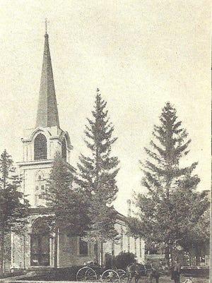 An historic photo of St. Joeseph's Church in Waupun.