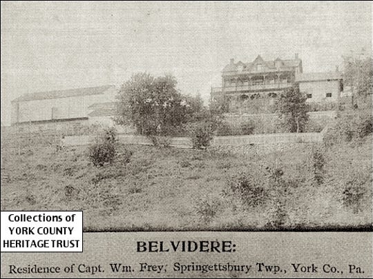 BELVIDERE: Residence of Capt. Wm. Frey, Springettsbury Twp., York Co., Pa. (Ca. 1895 Photo from Collections of York County Heritage Trust)
