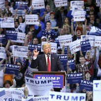 Donald Trump speaks at a campaign rally April 25 in Wilkes-Barre, Pa.