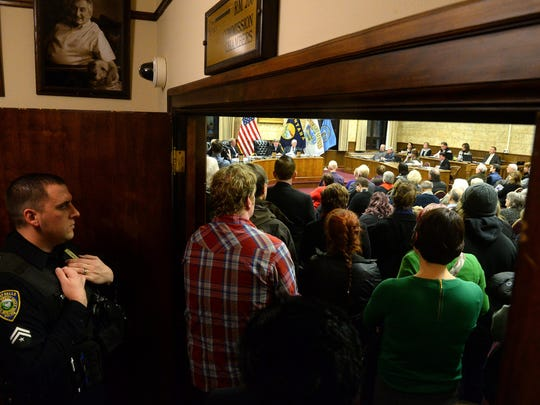 Standing room only for the beginning of Tuesday night's City Commission meeting in the Great Falls Civic Center. Much of the crowd was on hand to hear the city's proclamation against white supremacist activity in Whitefish.