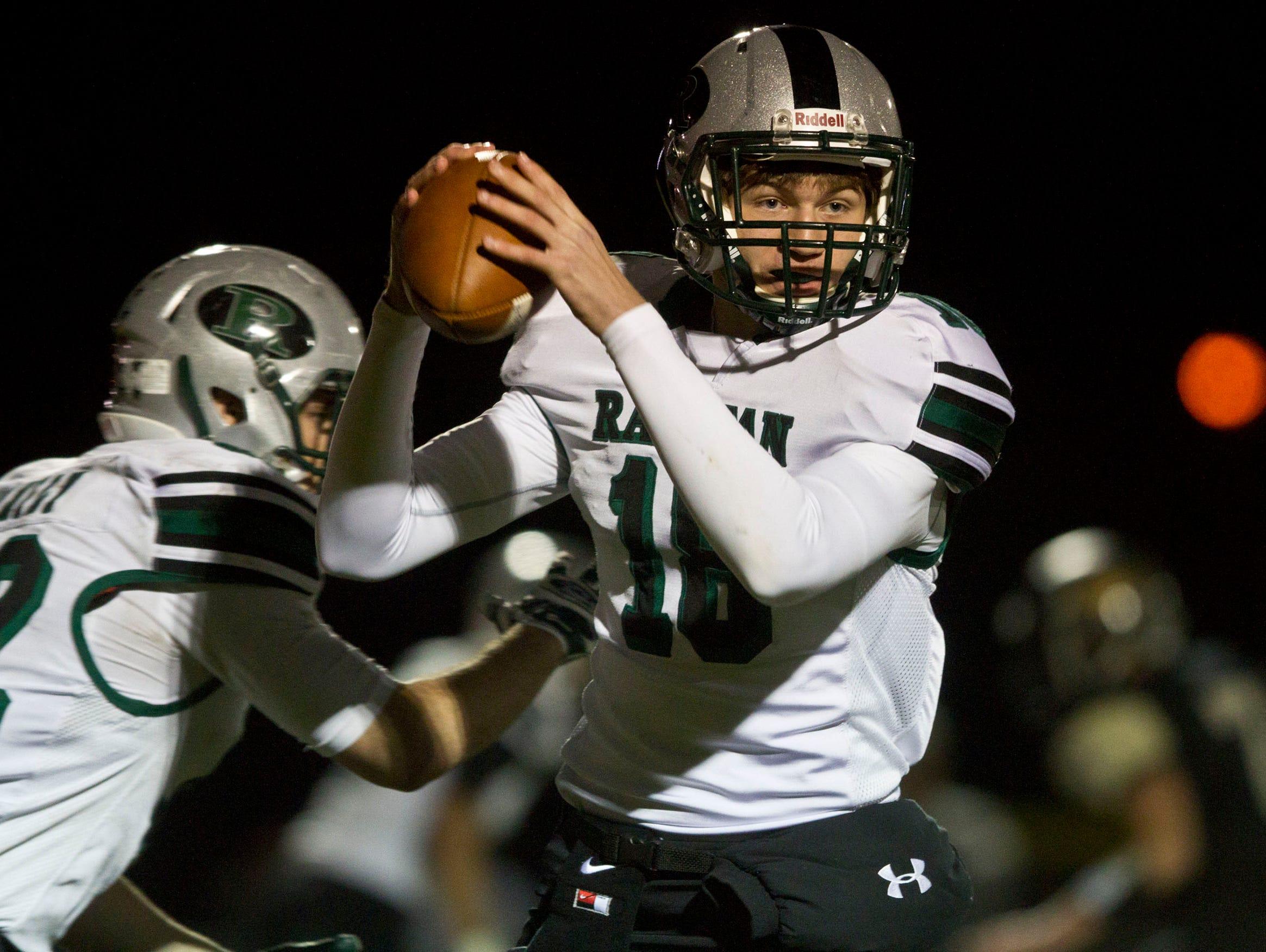 Raritan's quarterback Marc Carnivale. Raritan vs Point Pleasant Boro NJSIAA Group II playoff game. Point Pleasant, NJ Friday, November 13, 2015 @dhoodhood
