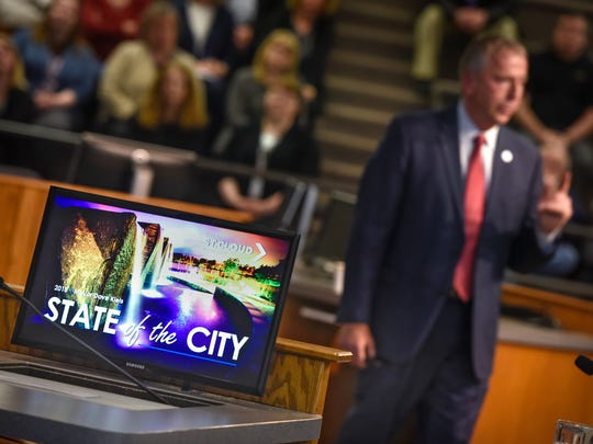 St. Cloud Mayor Dave Kleis speaks near the end of his State of the City address Tuesday, April 10, at St. Cloud City Hall.