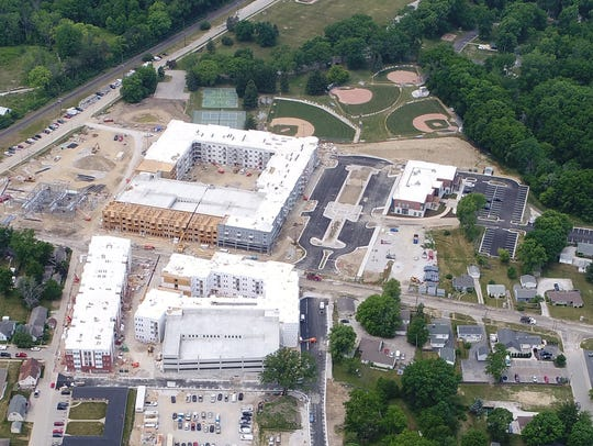 An aerial view of the Green Street Redevelopment project