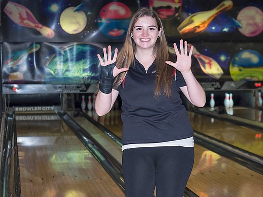 Senior Emily Mamunes led the coed Northern Highlands bowling team with a 186 average this winter.