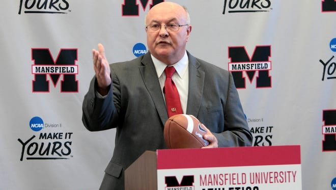 Rick Novak speaks Tuesday after being introduced as head coach of the Mansfield University sprint football team.