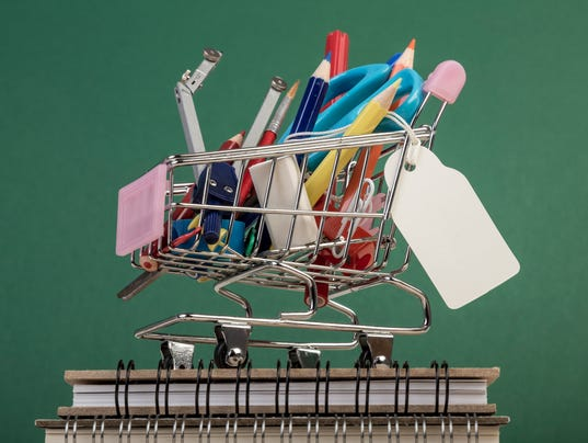 multiple stationery in a shopping cart
