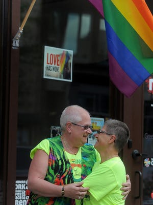 Lynn (left) and Monica Serling Swank in downtown Sioux Falls on Friday, June 26, 2015.