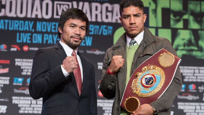 Manny Pacquiao, left, and Jessie Vargas will fight Saturday night in Las Vegas for Vargas' WBO welterweight title.