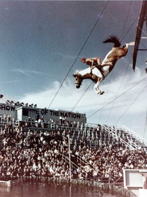 Undated historic photo of the famous diving horse on the Steel Pier in Atlantic City.