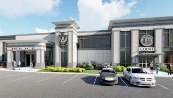 Preliminary design of North Augusta's new public safety headquarters with a new courthouse attached.