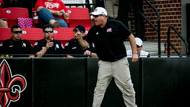UL coach Gerry Glasco was disappointing with his team's hitting performance in Saturday's doubleheader split with Georgia Southern.