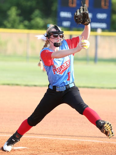 Lexie Garner throws a pitch during Gibson County's