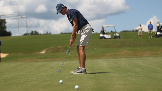 """Maclay junior Bryson Bianco practices his putting prior to a round at Southwood Golf Club. Bianco started a """"birdie-a-thon"""" to raise money for Leon County Special Olympics."""