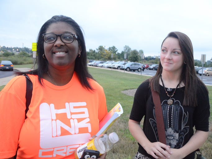 Lakeview High School students, from left, Robyn Bankston and Jaden Brown, talk about what they're looking forward to this school year.