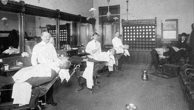 Young Harry Golden, center, was for decades a barber at Harter's Barbershop, located at the Southeast corner of 10th and Main, and a Richmond business staple the first half of the 20th century. One of today's stories concerns local barbers giving haircuts on Sunday.
