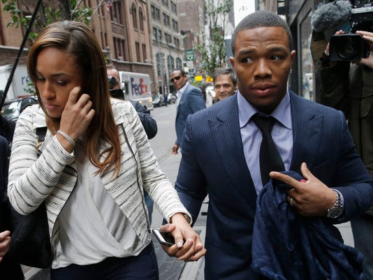 File of former Baltimore Ravens NFL running back Ray Rice and his wife Janay arriving for a hearing at a New York City office building