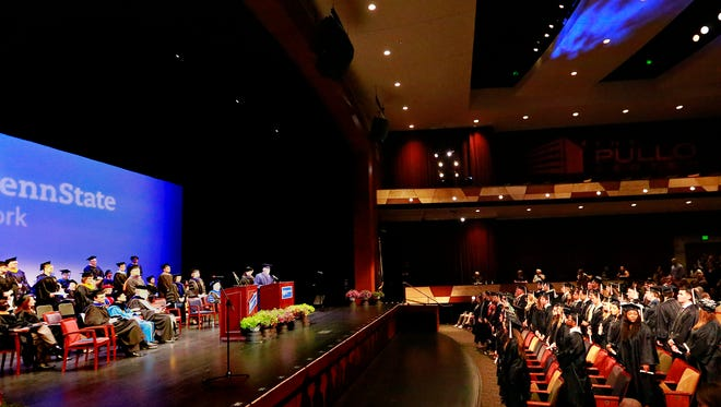 Graduates during the Penn State York Spring 2018 commencement exercises at The Pullo Center at Penn State York in York City, Friday, May 4, 2018. Dawn J. Sagert photo
