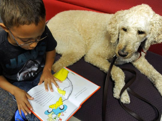 Woody, a therapy dog, listens as O'Dell Davis reads to him at Ronning Library in Sioux Falls in 2015.